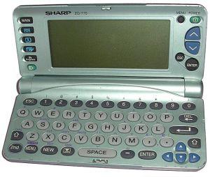 Sharp Electronic Organiser-open